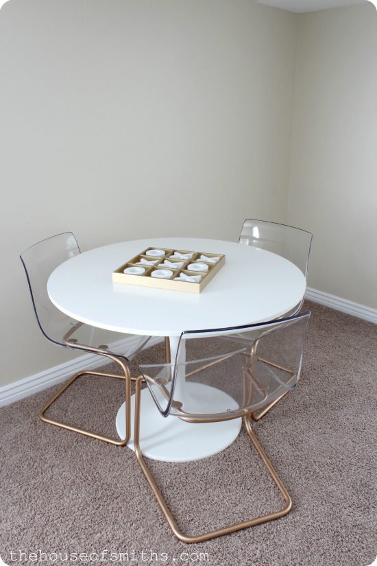 chrome chairs go gold a game table how to spray paint metal. Black Bedroom Furniture Sets. Home Design Ideas