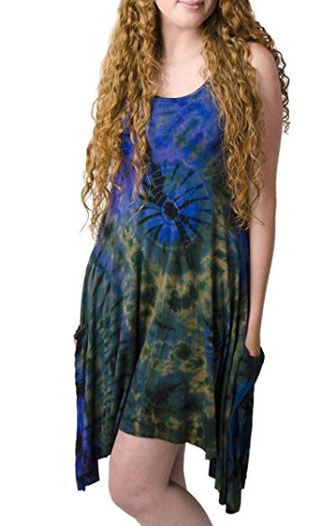 boho hippie bohemian tie dye dress with pockets