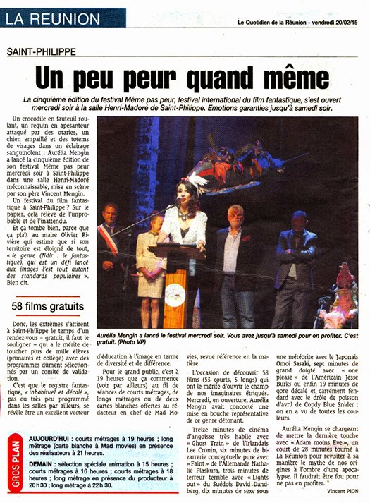 Le Festival MEME PAS PEUR dans Le Quotidien de La Réunion