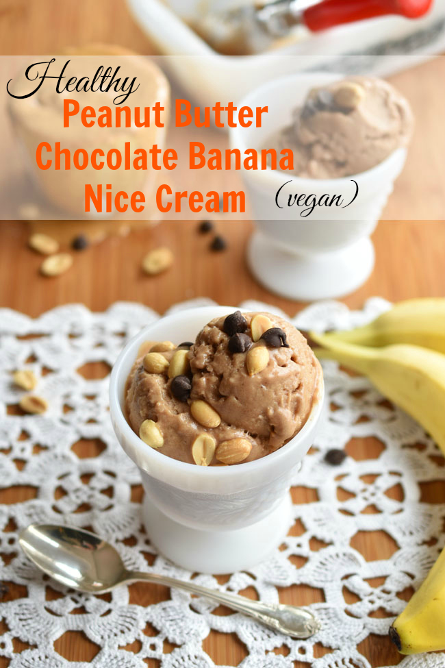 Peanut Butter Chocolate Banana Nice Cream - an easy, delicious recipe for a dairy-free ice cream that will satisfy your summer frozen dessert cravings! #vegan #healthy
