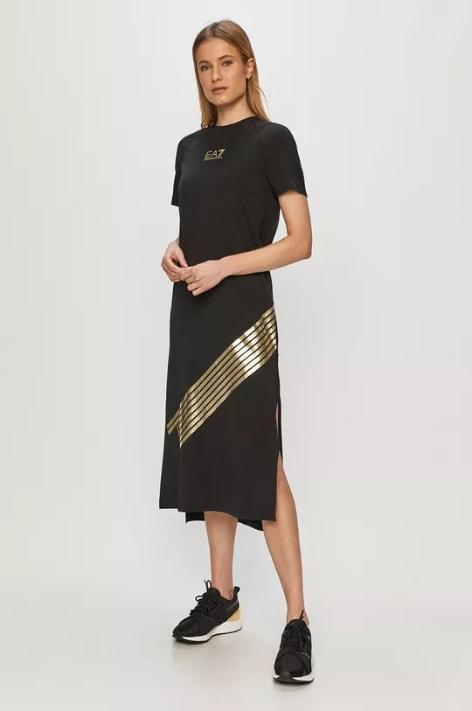 Rochie casual neagra lunga cu isnertii aurii
