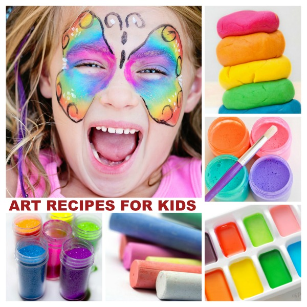 Recipes to make all of your kids art supplies at home- everything imaginable is on this list!! (even paper!)