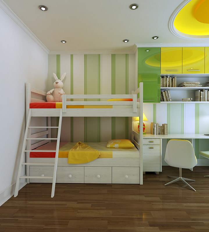 A bright and fresh looking children's room with bunk beds