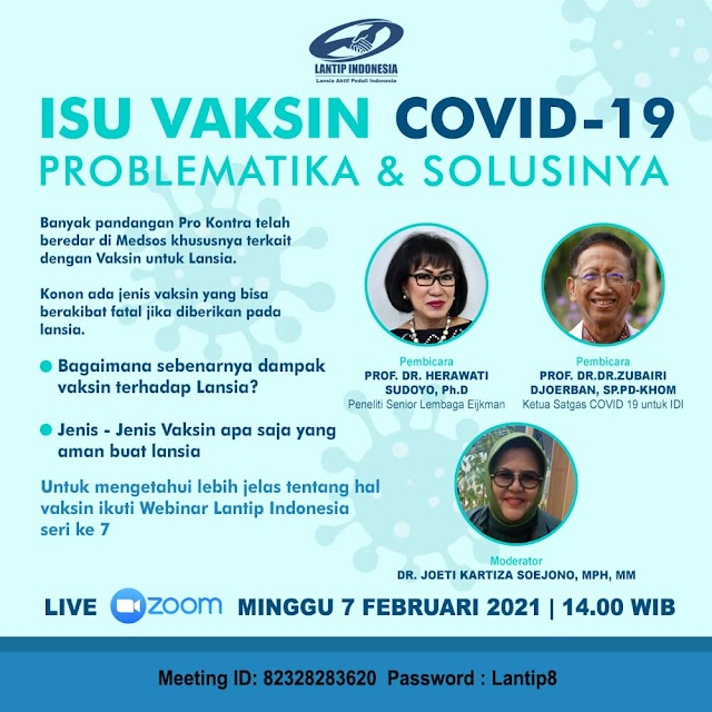 "Free Webinar   ""Isu Vaksin Covid-19 Problematika dan Solusinya"""