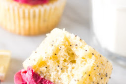 Lemon Poppy Seed Cupcakes with Blackberry Frosting