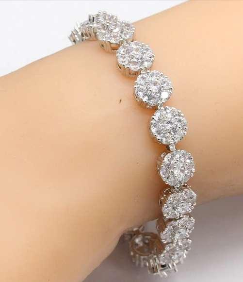 Women Jewelry 925 Silver Sets Necklace Earrings Rings Bracelets White Zirconia
