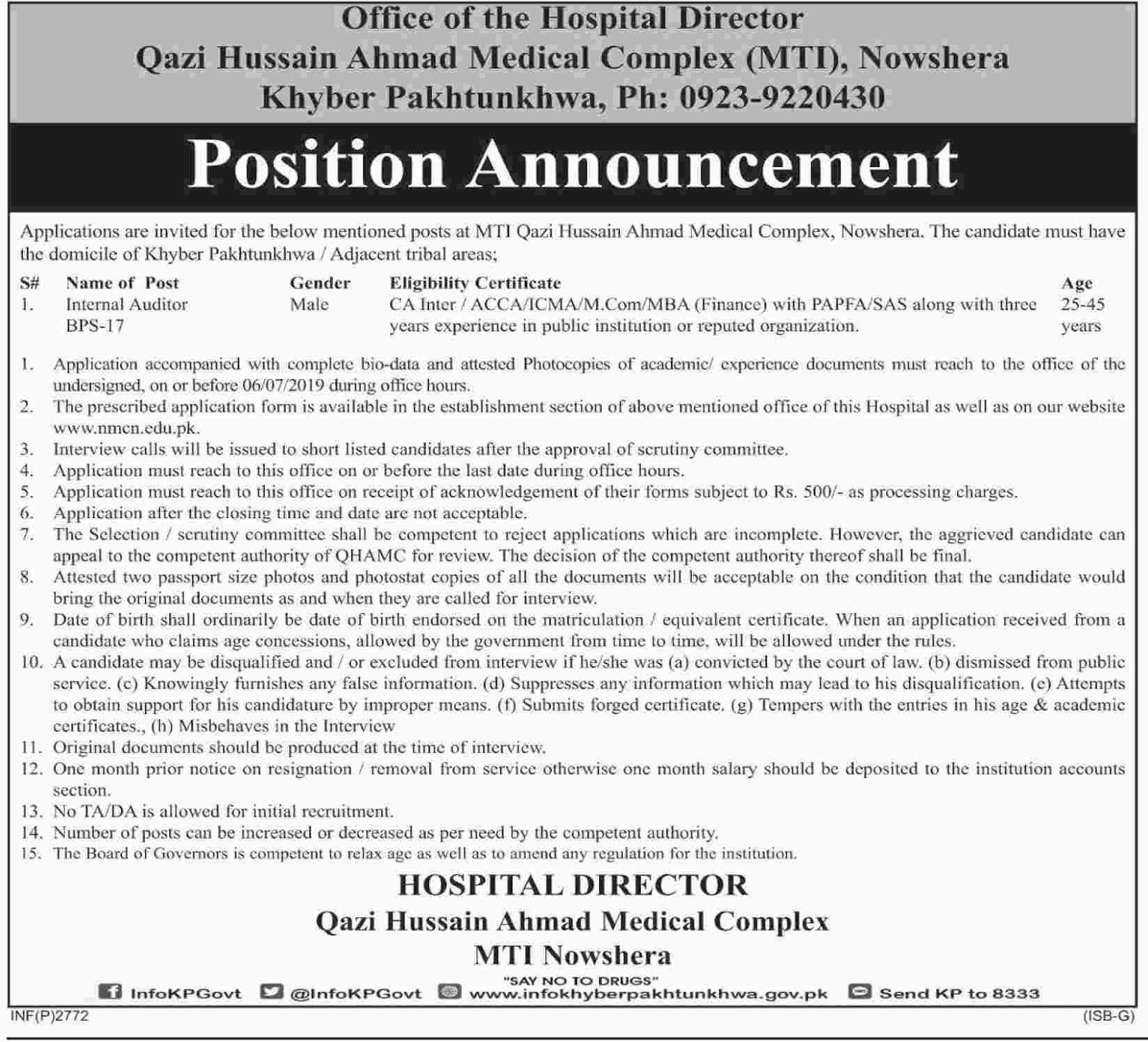 Jobs Opportunistic in Nowshera as Internal Auditor