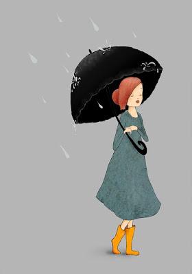 Cartoon image-Pretty woman with umbrella