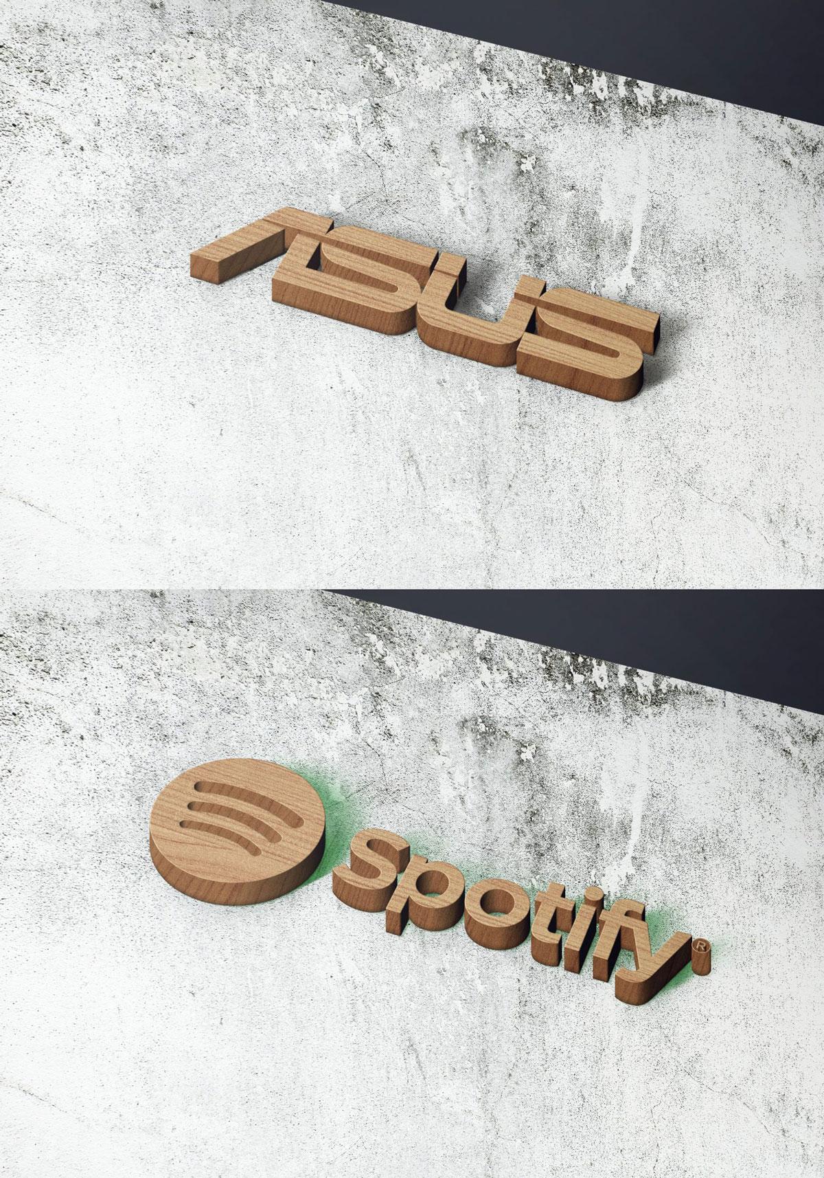 3D Wood Logo Mockup PSD Template Download