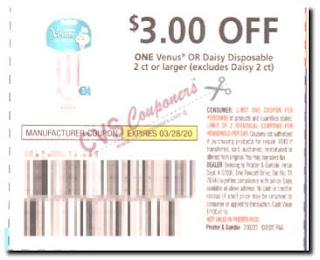 venus $3 off one razor coupon
