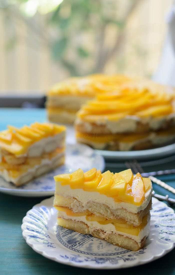 Eggless, no bake mango tiramisu