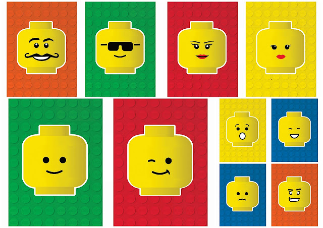Free Printable Banners with Lego Faces.