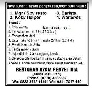 Lowongan Kerja Restoran Ayam Penyet Ria