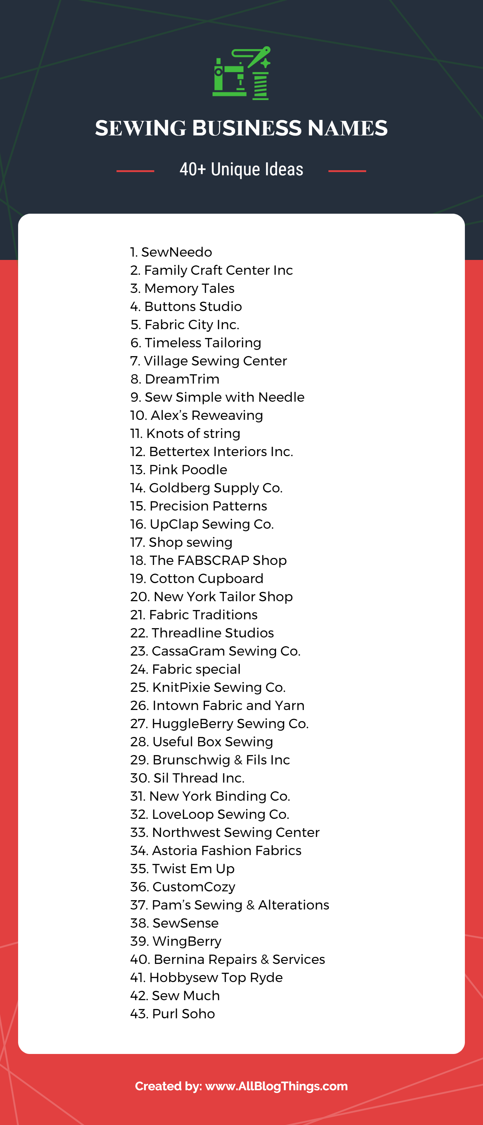 40+ Unique Sewing Company Names Infographic by AllBlogThings.com
