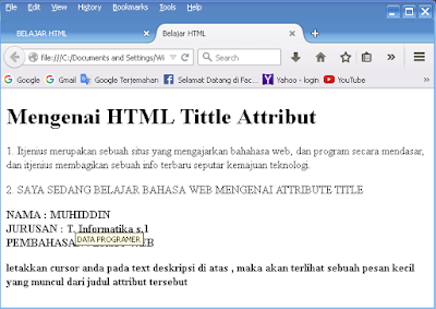 Menggunakan Judul Attribute Pada HTML