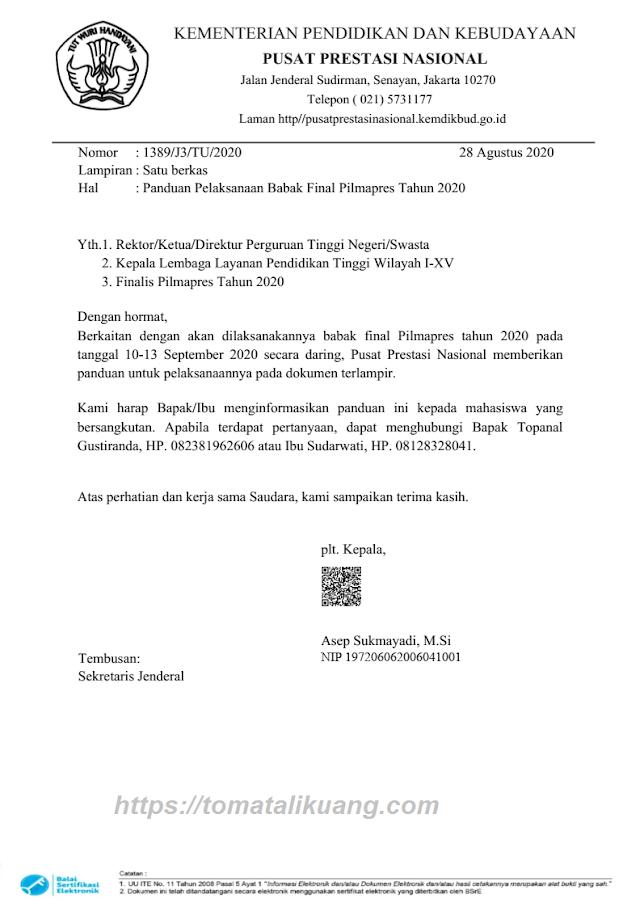 Download Panduan Babak Final Pilmapres 2020 PDF