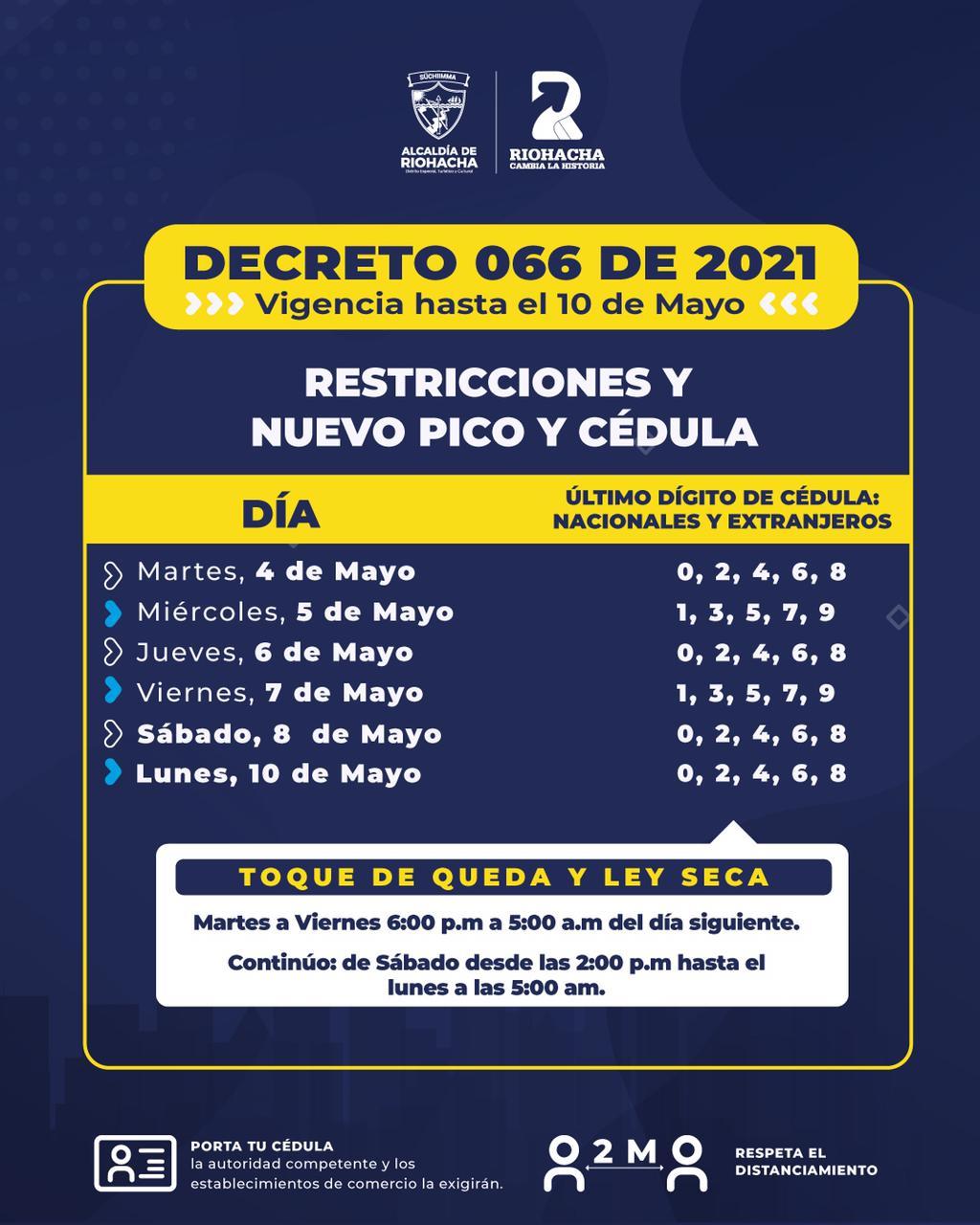 https://www.notasrosas.com/Por aumento de casos de covid-19 en Riohacha: desde el 04 de mayo regirá Pico y Cédula, Ley Seca, y Toque De Queda