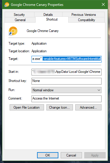 Chrome MitM error setup configuration