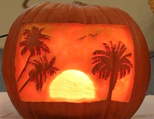 Beach Palm Tree Jack O Lantern Pumpkin Carving Idea