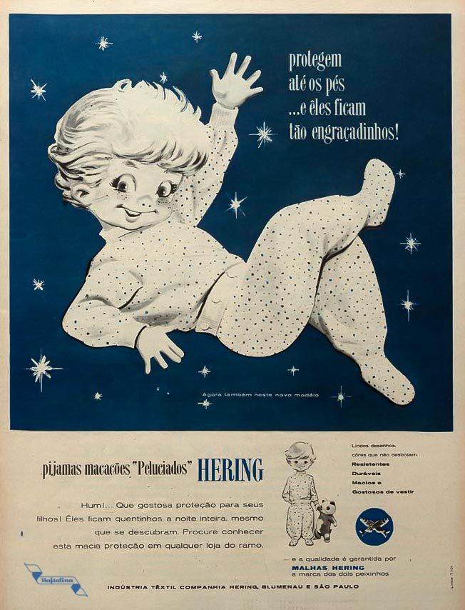 Anúncio antigo da Hering promovendo a linha de pijamas e macacões peluciados para crianças em 1961