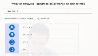 http://www.auladoguto.com.br/exercicios-online-de-matematica/exercicio-online-produtos-notaveis-quadrado-da-diferenca-de-dois-termos