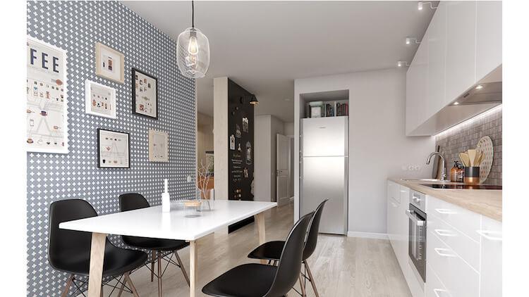Reforma de un pequeño apartamento, cocina con office