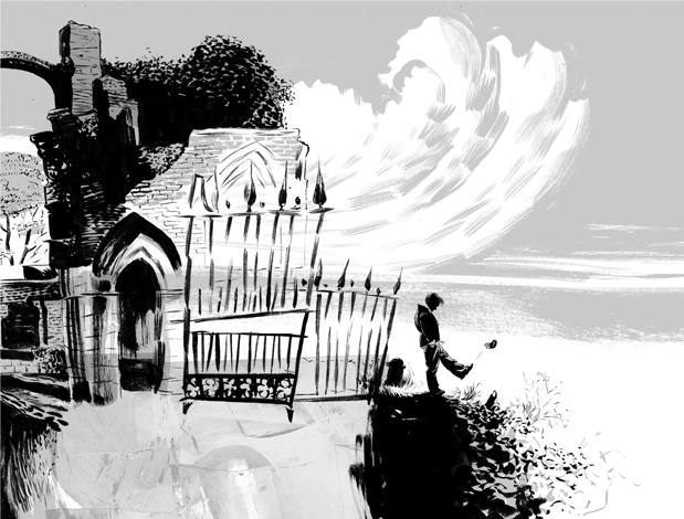 Black, white, and gray-tone illustration of a boy kicking a rock off a hill at the edge of a gated graveyard against a clouded sky