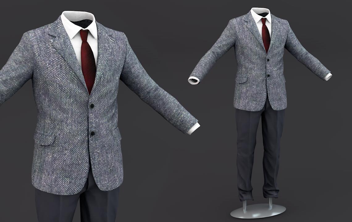 Suit men 3D Model Clothing 3D Model