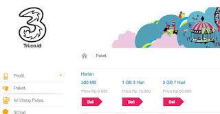 Harga Paket Internet Harian 3 Tri 4G LTE 2016