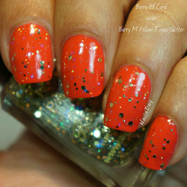NailaDay: Barry M Coral with Yellow Topaz Glitter