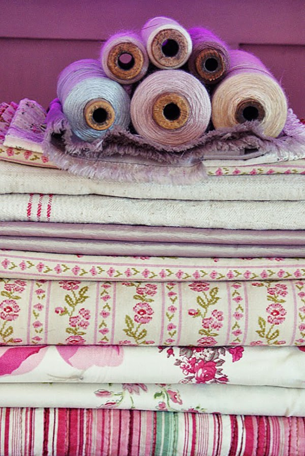 Pink and Lilac Shabby Chic Pile of Fabric and threads