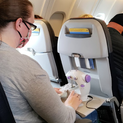 Sewing on an airplane