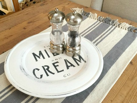 Milk and Cream Lazy Susan with salt and pepper shakers