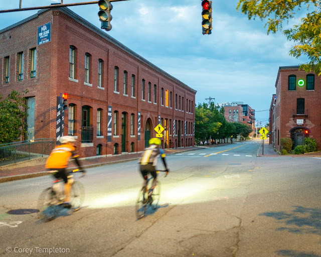Portland, Maine September 2021 photo by Corey Templeton. Lighting the Way: Early morning cycling on York Street