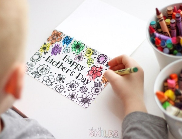 Happy Mothers Day colouring in printable card