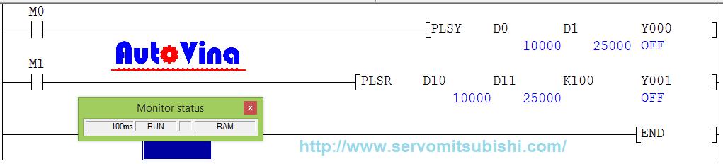 Hướng dẫn lập trình chạy thử lệnh phát xung trong PLC Mitsubishi