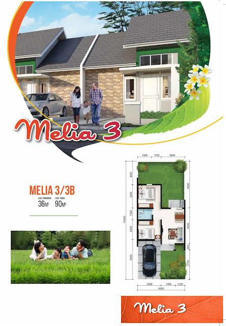 Model dan Denah Rumah MELIA 3 Blv - 36/90 Citra Indah City
