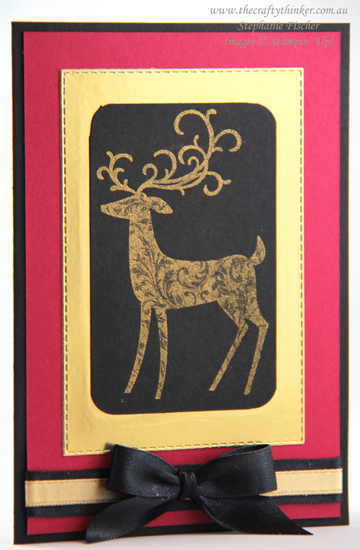 #thecraftythinker #stampinup #cardmaking #christmascard #dashingdeer , Dashing Deer, Golden Glitz, Dramatic christmas card, Stampin Up Demonstrator, Stephanie Fischer, Sydney NSW