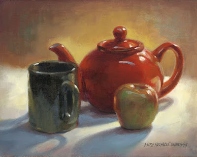 Art by Mary Rochelle Burnham: Red Teapot with Mug & Apple