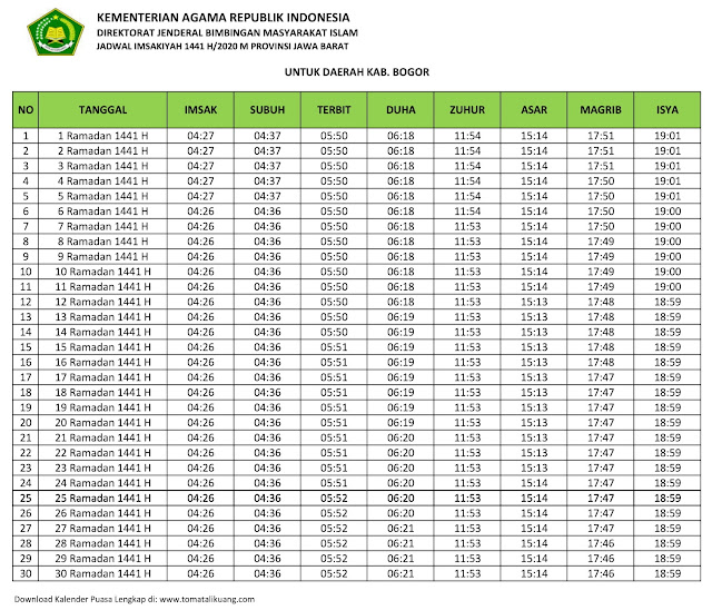 jadwal imsakiyah ramadhan buka puasa Kabupaten Bogor 2020 m 1441 h tomatalikuang.com