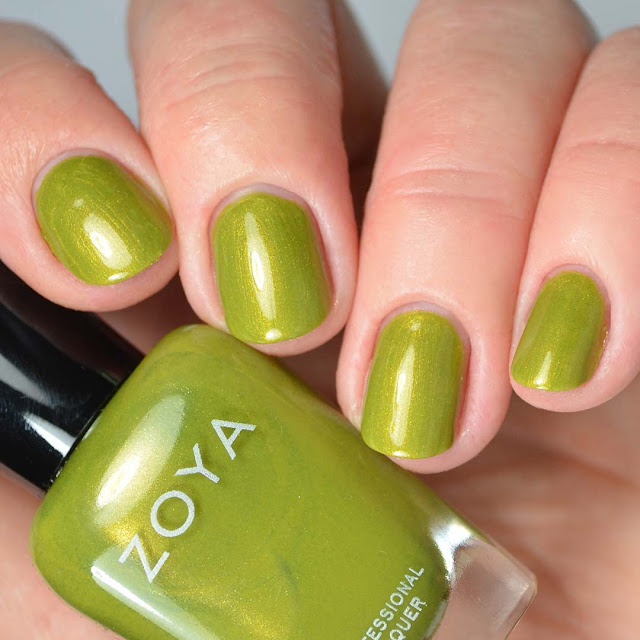 chartreuse green metallic nail polish swatch four fingers