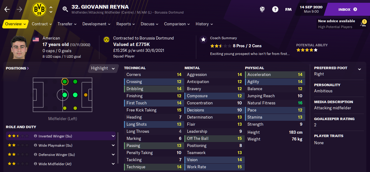 Football Manager 2021 Giovanni Reyna FM21