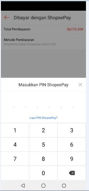 masukkan Pin Shopee pay anda