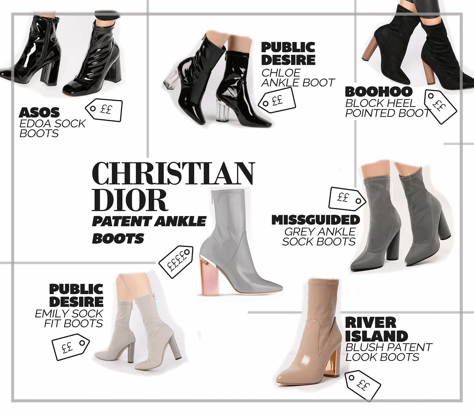 designer shoe christian dior calfskin patent sock ankle boots best dupes