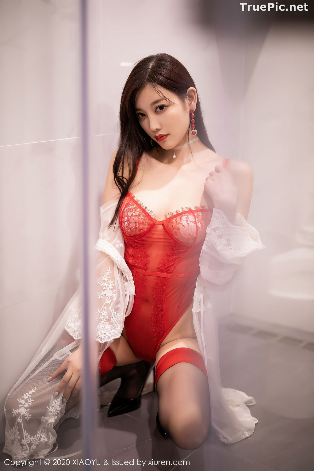 Image XiaoYu Vol.413 - Chinese Model - Yang Chen Chen (杨晨晨sugar)- Red Crystal-clear Lingerie - TruePic.net - Picture-9