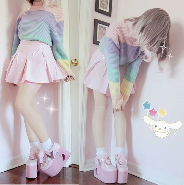 kawaii fashion cute outfits pink skirt thigh high socks pastel hair pretty clothes jfashion fashion blogger blog milkiiprincess