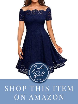 Navy Blue Bridesmaid Dress Mid Length with Lace Details