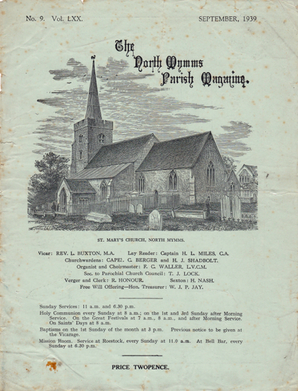 Scan of the parish magazine for St. Mary's Church, North Mymms of September 1939