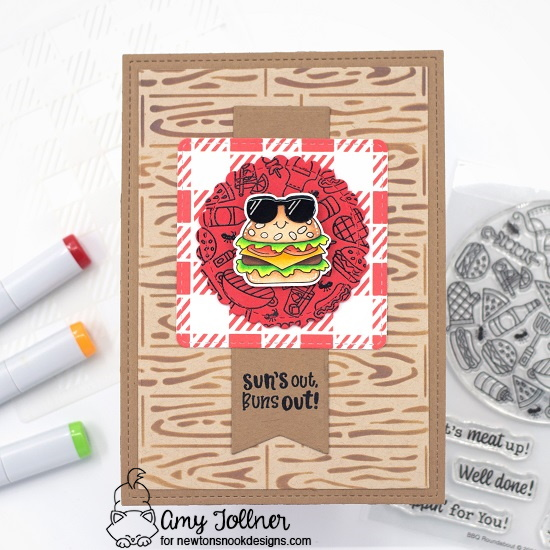 Sun's out, buns out by Amy features Circle Frames, Frames Squared, Frames & Flags, Hardwood, Gingham, BBQ Roundabout, Buns Out by Newton's Nook Designs; #inkypaws, #cardmaking, #newtonsnook, #summercards