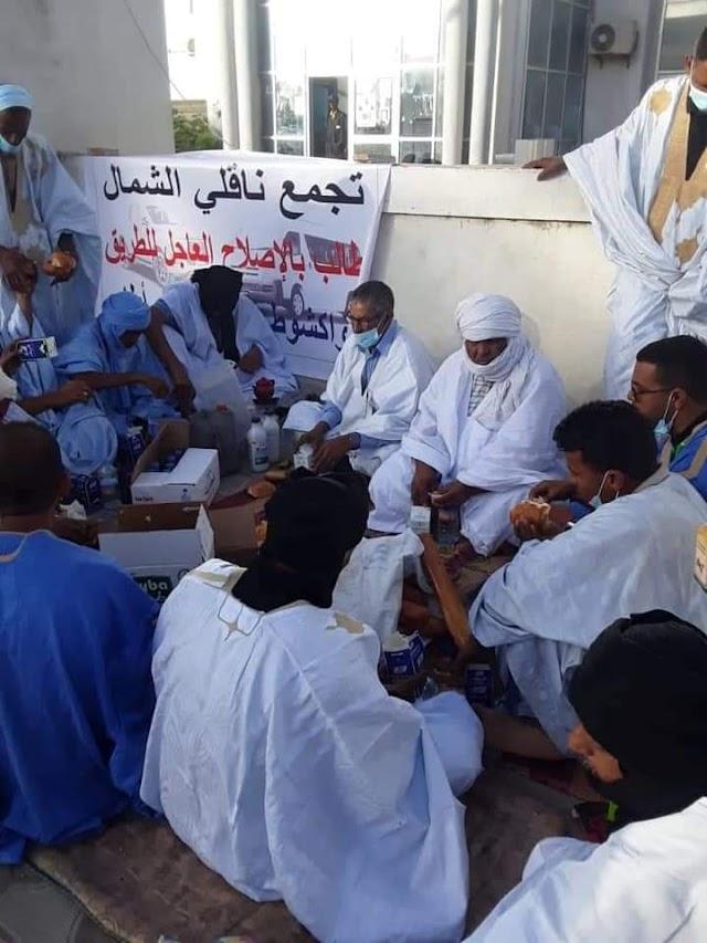 ناقلو الشمال يطالبون بإصلاح طريق نواكشوط أطار (صور